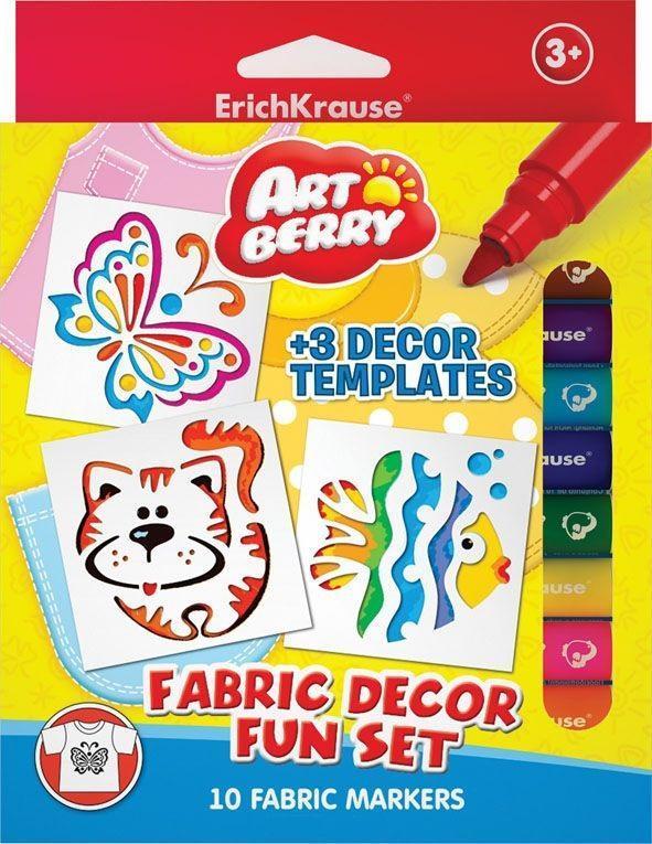 Набор для творчества фломастеры для ткани Artberry, 10 цветов + 3 трафарета4041485349372Набор фломастеров для рисования по ткани - отличное решение для тех, кто хочет создать вещи своего собственного дизайна. Достаточно лишь нарисовать желаемое на ткани и рисунок будет готов. Теплового воздействия не нужно!