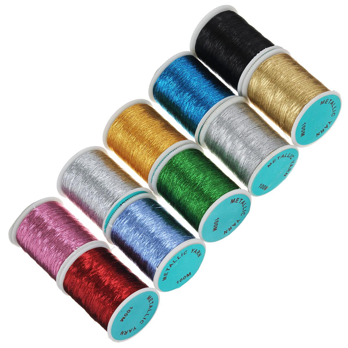 Набор ниток люрекс Darwi, 100 м, 10 бобин135345Набор ниток люрекс Darwi, изготовленный из полиэстера, состоит из 10 бобин разных цветов. Это незаменимый материал для рукодельниц, швей и портных. Металлизированные нитки с блеском позволят украсить любое изделие.