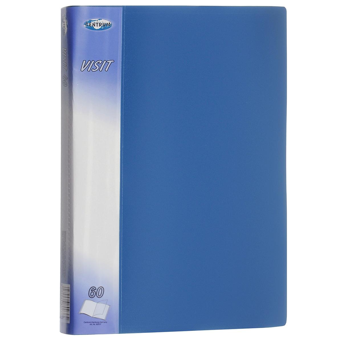 Папка Centrum Visit, 60 файлов, цвет: голубой. Формат А480037СПапка Centrum Visit - это удобный и функциональный офисный инструмент, предназначенный для хранения и транспортировки бумаг и документов формата А4. Обложка папки изготовлена из износостойкого непрозрачного пластика повышенной плотности и включает в себя 60 вкладышей-файлов формата А4. Папка имеет опрятный и неброский вид. Уголки папки закруглены, что предотвращает их загибание и надолго обеспечивает опрятный вид папки. Папка - это незаменимый атрибут для студента, школьника, офисного работника. Такая папка надежно сохранит ваши документы и сбережет их от повреждений, пыли и влаги.
