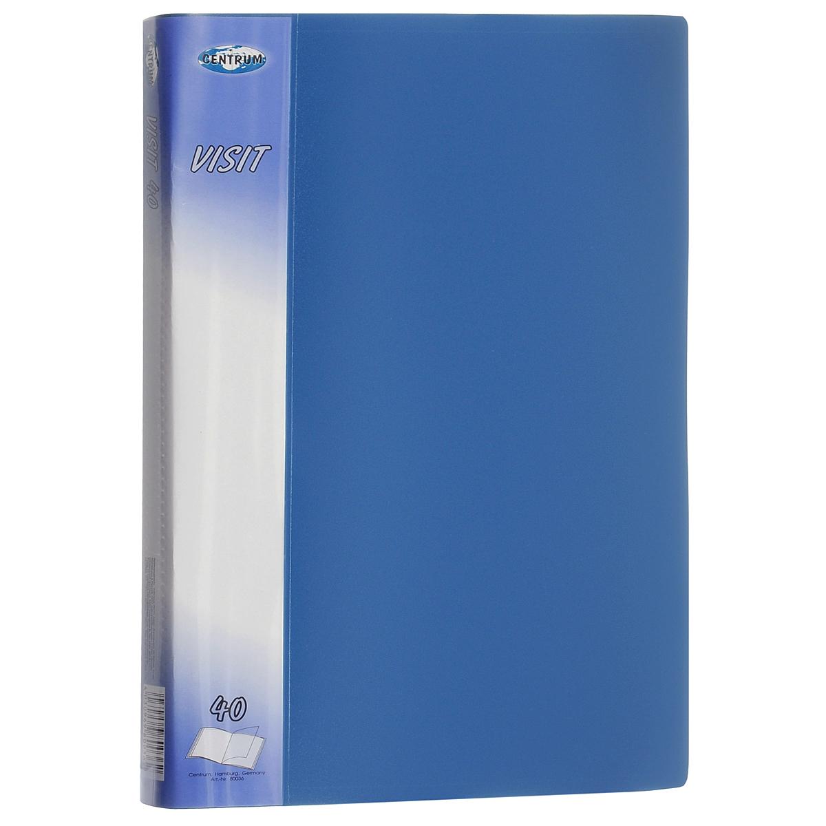 Папка Centrum Visit, 40 файлов, цвет: голубой. Формат А480036СПапка Centrum Visit - это удобный и функциональный офисный инструмент, предназначенный для хранения и транспортировки бумаг и документов формата А4. Обложка папки изготовлена из износостойкого непрозрачного пластика повышенной плотности и включает в себя 40 вкладышей-файлов формата А4. Папка имеет опрятный и неброский вид. Уголки папки закруглены, что предотвращает их загибание и надолго обеспечивает опрятный вид папки. Папка - это незаменимый атрибут для студента, школьника, офисного работника. Такая папка надежно сохранит ваши документы и сбережет их от повреждений, пыли и влаги.