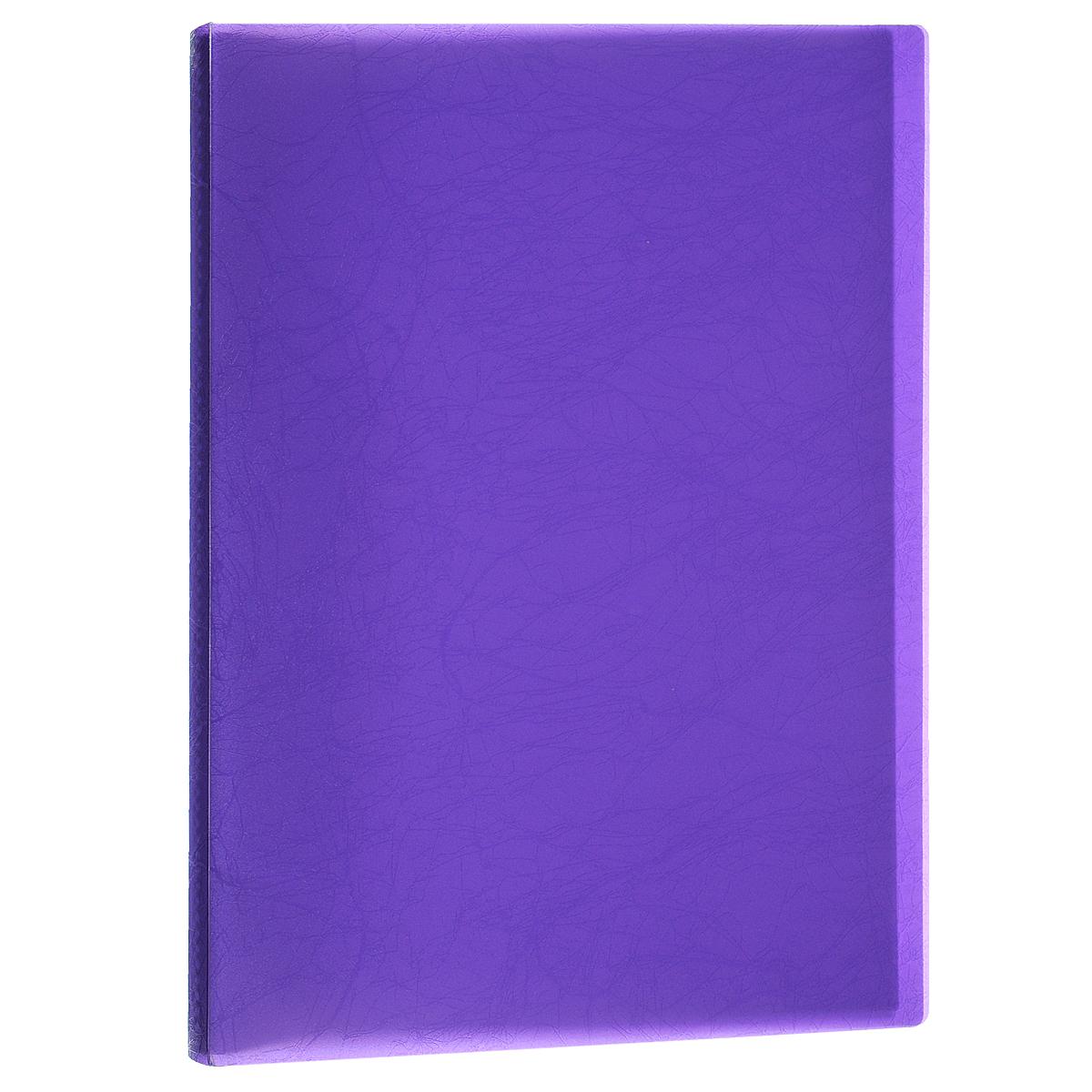 Папка Centrum, 20 файлов, цвет: фиолетовый. Формат А484035ФПапка Centrum - это удобный и функциональный офисный инструмент, предназначенный для хранения и транспортировки рабочих бумаг и документов формата А4. Папка изготовлена из прочного высококачественного пластика и включает в себя 20 прозрачных вкладышей-файлов. Обложка папки оформлена тиснением под кожу. Папка имеет опрятный и неброский вид. Уголки папки имеют закругленную форму, что предотвращает их загибание и помогает надолго сохранить опрятный вид обложки. Папка - это незаменимый атрибут для любого студента, школьника или офисного работника. Такая папка надежно сохранит ваши бумаги и сбережет их от повреждений, пыли и влаги.