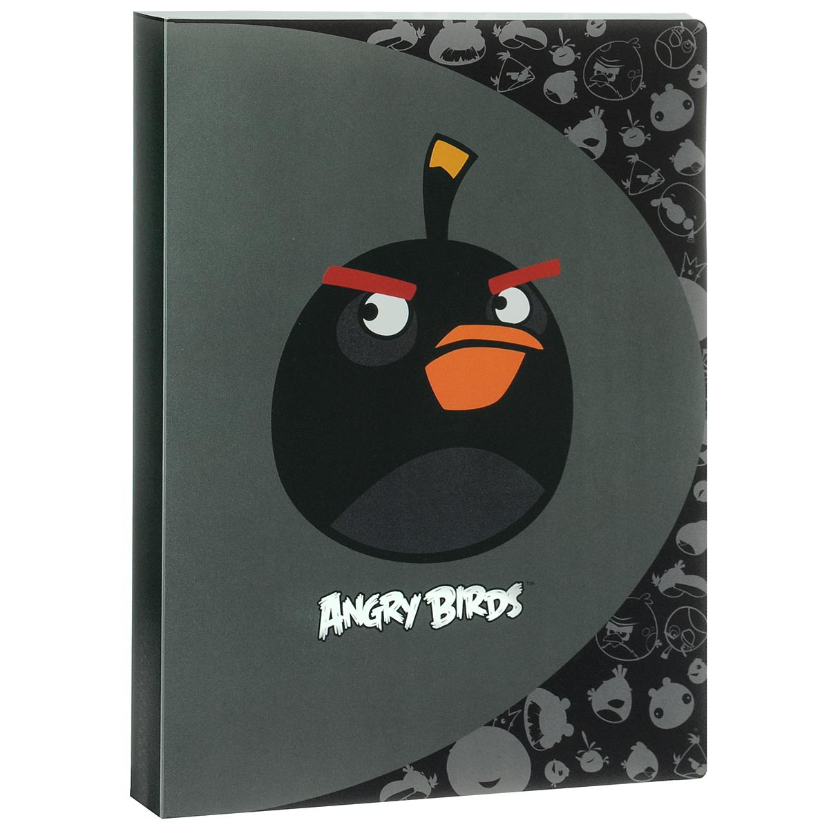 Папка Centrum Angry Birds, на 20 файлов, цвет: черный. Формат А484699ЧПапка Centrum Angry Birds - это удобный и функциональный офисный инструмент, предназначенный для хранения и транспортировки рабочих бумаг и документов формата А4. Папка изготовлена из прочного высококачественного пластика и включает в себя 20 прозрачных вкладышей-файлов. Обложка папки выполнена из матового пластика и оформлена изображением сердитой птички из игры Angry Birds. Папка имеет опрятный и неброский вид. Уголки папки имеют закругленную форму, что предотвращает их загибание и помогает надолго сохранить опрятный вид обложки. Папка - это незаменимый атрибут для любого студента или школьника. Такая папка надежно сохранит ваши бумаги и сбережет их от повреждений, пыли и влаги, а забавные птички обязательно поднимут вам настроение!