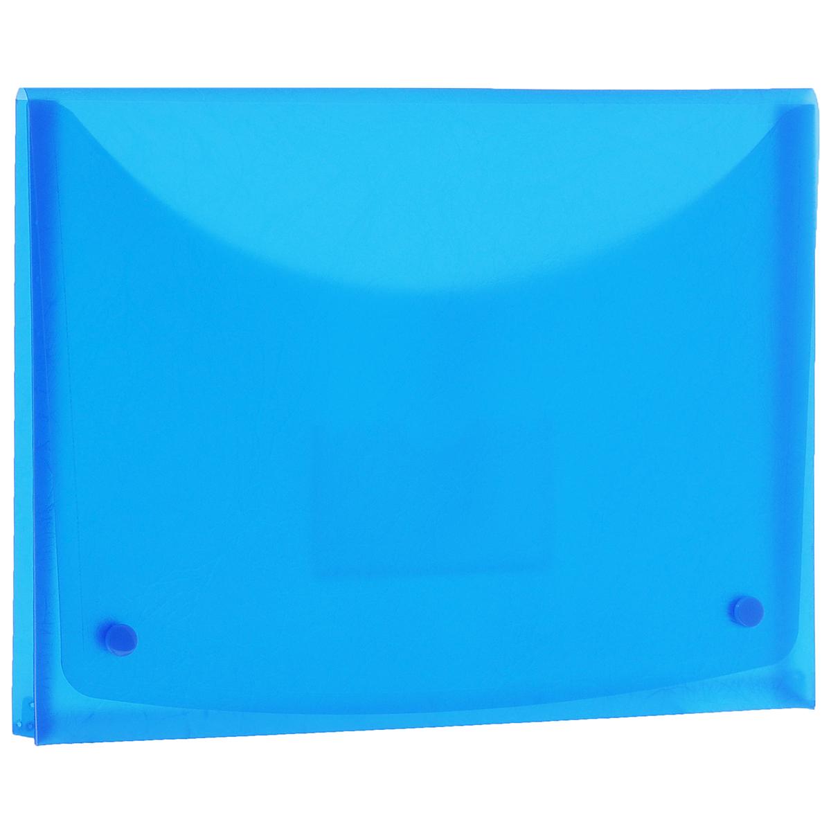 Папка-конверт Centrum Soft Touch, на 2 кнопках, цвет: синий. Формат А484016СПапка-конверт Centrum Soft Touch станет вашим верным помощником дома и в офисе. Это удобный и функциональный инструмент, предназначенный для хранения и транспортировки рабочих бумаг и документов формата А4. Папка изготовлена из прочного высококачественного пластика толщиной 0,4 мм и закрывается на широкий клапан с двумя кнопками. Под клапаном располагается прозрачный открытый карман для дискеты. Папка имеет специальную вырубку, облегчающую изъятие документов. Уголки имеют закругленную форму, что предотвращает их загибание и помогает надолго сохранить опрятный вид обложки. Папка оформлена тиснением под кожу. Папка - это незаменимый атрибут для любого студента, школьника или офисного работника. Такая папка надежно сохранит ваши бумаги и сбережет их от повреждений, пыли и влаги.