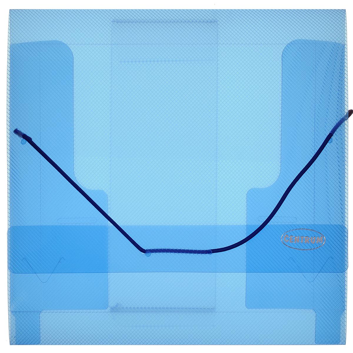 Папка-конверт Centrum, на резинке, цвет: синий. 8080080800СПапка на резинке Centrum станет вашим верным помощником дома и в офисе. Это удобный и функциональный инструмент, предназначенный для хранения и транспортировки рабочих бумаг и документов формата А5 и меньше. Папка с двойной угловой фиксацией резиновой лентой изготовлена из прочного высококачественного пластика толщиной 0,65 мм. Внутри папки расположены 3 клапана, обеспечивающие надежную фиксацию бумаг. Папка оформлена тиснением в виде параллельной штриховки. Папка - это незаменимый атрибут для любого студента, школьника или офисного работника. Такая папка надежно сохранит ваши бумаги и сбережет их от повреждений, пыли и влаги.