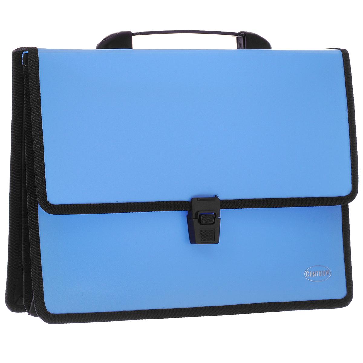Папка-портфель Centrum, 2 отделения, с ручкой, цвет: голубой80610СПапка-портфель Centrum станет вашим верным помощником дома и в офисе. Это удобный и функциональный инструмент, предназначенный для хранения и транспортировки больших объемов рабочих бумаг и документов формата А4. Папка изготовлена из износостойкого высококачественного пластика толщиной 0,70 мм, и закрывается на широкий клапан с замком. Состоит из 2 вместительных отделений. Грани папки отделаны полиэстером, а уголки закруглены для обеспечения дополнительной прочности и сохранности опрятного вида папки. Папка имеет удобную ручку для переноски. Папка - это незаменимый атрибут для любого студента, школьника или офисного работника. Такая папка надежно сохранит ваши бумаги и сбережет их от повреждений, пыли и влаги.