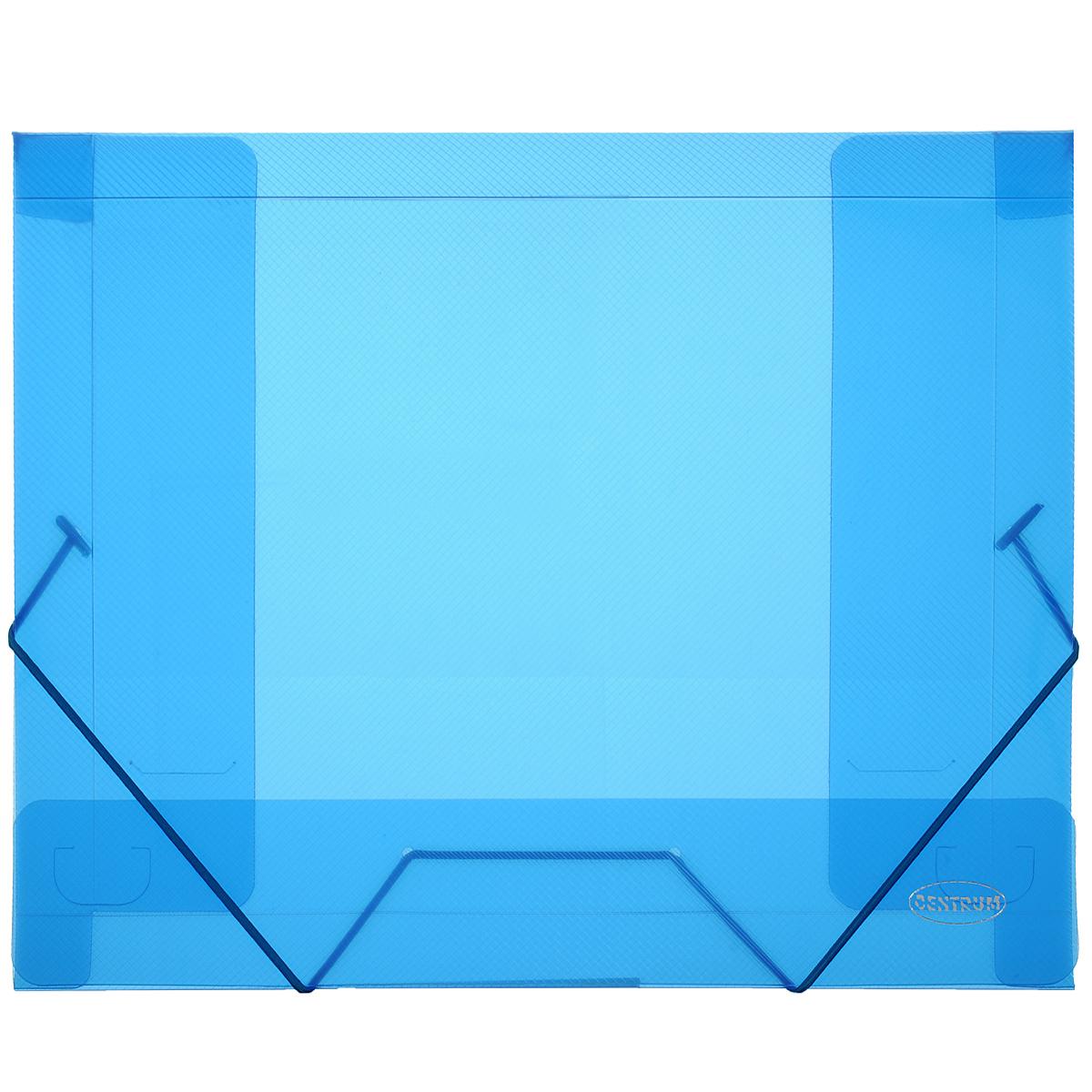Папка-конверт на резинке Centrum, цвет: синий. Формат А480019СПапка-конверт на резинке Centrum - это удобный и функциональный офисный инструмент, предназначенный для хранения и транспортировки рабочих бумаг и документов формата А4. Папка с двойной угловой фиксацией резиновой лентой изготовлена из износостойкого полупрозрачного полипропилена. Внутри папка имеет три клапана, что обеспечивает надежную фиксацию бумаг и документов. Оформлена тиснением в виде параллельной штриховки. Папка - это незаменимый атрибут для студента, школьника, офисного работника. Такая папка надежно сохранит ваши документы и сбережет их от повреждений, пыли и влаги.