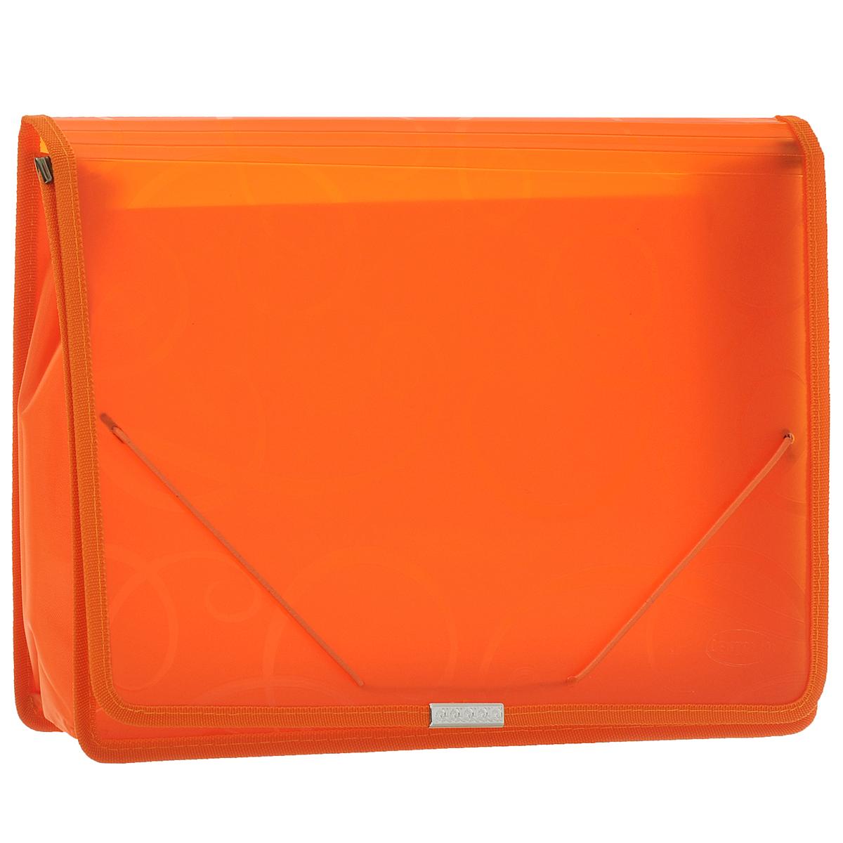 Папка-конверт на резинке Centrum, цвет: оранжевый. Формат А4. 8080280802ОПапка-конверт на резинке Centrum - это удобный и функциональный офисный инструмент, предназначенный для хранения и транспортировки рабочих бумаг и документов формата А4. Папка с двойной угловой фиксацией резиновой лентой изготовлена из износостойкого полупрозрачного полипропилена. Внутри папка имеет одно объемное отделение повышенной вместимости и 2 прозрачных открытых кармашка. Грани папки отделаны полиэстером, что обеспечивает дополнительную прочность и опрятный вид папки. Клапан украшен декоративным металлическим элементом. Папка оформлена тиснением в виде абстрактного орнамента. Папка - это незаменимый атрибут для студента, школьника, офисного работника. Такая папка надежно сохранит ваши документы и сбережет их от повреждений, пыли и влаги.