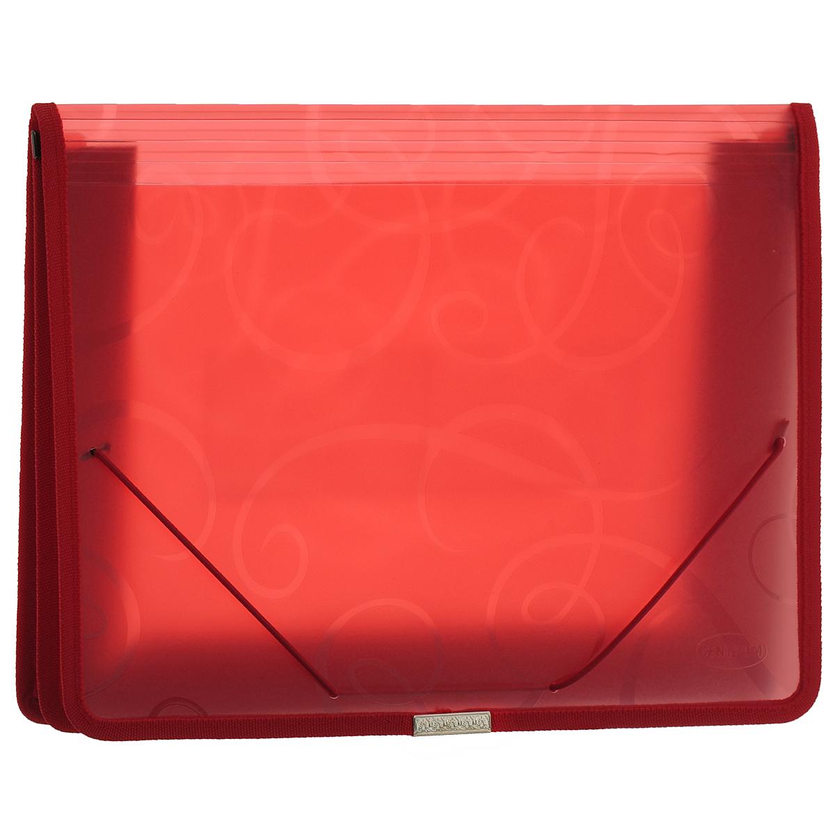 Centrum Папка-конверт на резинке цвет красный80802КПапка-конверт на резинке Centrum - это удобный и функциональный офисный инструмент, предназначенный для хранения и транспортировки рабочих бумаг и документов формата А4. Папка с двойной угловой фиксацией резиновой лентой изготовлена из износостойкого полупрозрачного полипропилена. Внутри папка имеет одно объемное отделение повышенной вместимости и 2 прозрачных открытых кармашка. Грани папки отделаны полиэстером, что обеспечивает дополнительную прочность и опрятный вид папки. Клапан украшен декоративным металлическим элементом. Папка оформлена тиснением в виде абстрактного орнамента. Папка - это незаменимый атрибут для студента, школьника, офисного работника. Такая папка надежно сохранит ваши документы и сбережет их от повреждений, пыли и влаги.