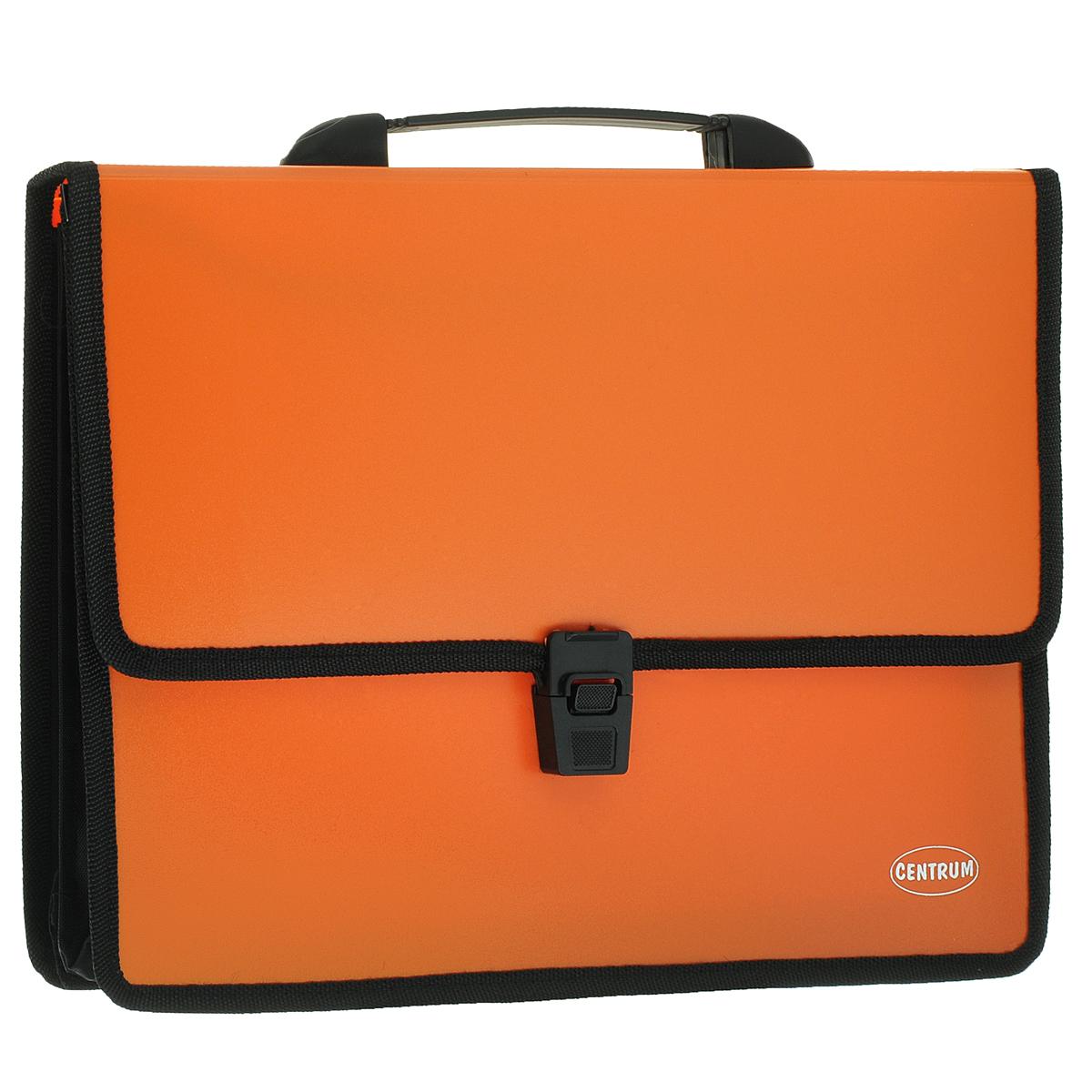 """Папка-портфель """"Centrum"""", 2 отделения, с ручкой, цвет: оранжевый 80610О"""
