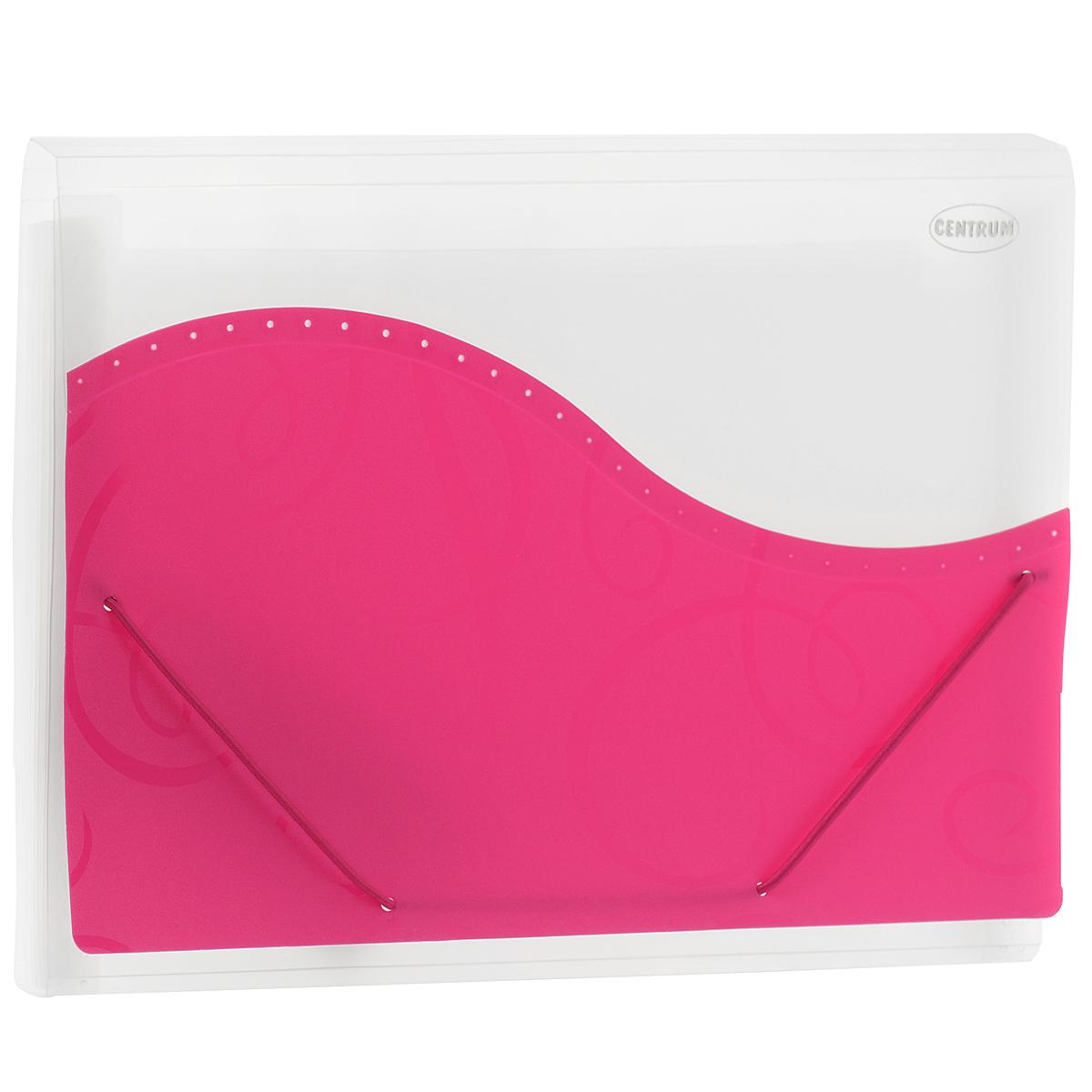 Папка на резинке Centrum, 7 отделений, цвет: прозрачный, розовый. Формат А483617РПапка на резинке Centrum - это удобный и функциональный офисный инструмент, предназначенный для хранения и транспортировки большого объема рабочих бумаг и документов формата А4. Папка с двойной угловой фиксацией резиновой лентой изготовлена из прочного высококачественного пластика толщиной 0,4 мм. Папка состоит из 7 вместительных отделений с прозрачными пластиковыми разделителями. Уголки имеют закругленную форму, что предотвращает их загибание и помогает надолго сохранить опрятный вид обложки. В комплект входят 18 стикеров для разделителей разных цветов. Папка оформлена вставкой из непрозрачного пластика с оригинальным орнаментом. Папка-конверт - это незаменимый атрибут для студента, школьника, офисного работника. Такая папка надежно сохранит ваши документы и сбережет их от повреждений, пыли и влаги.