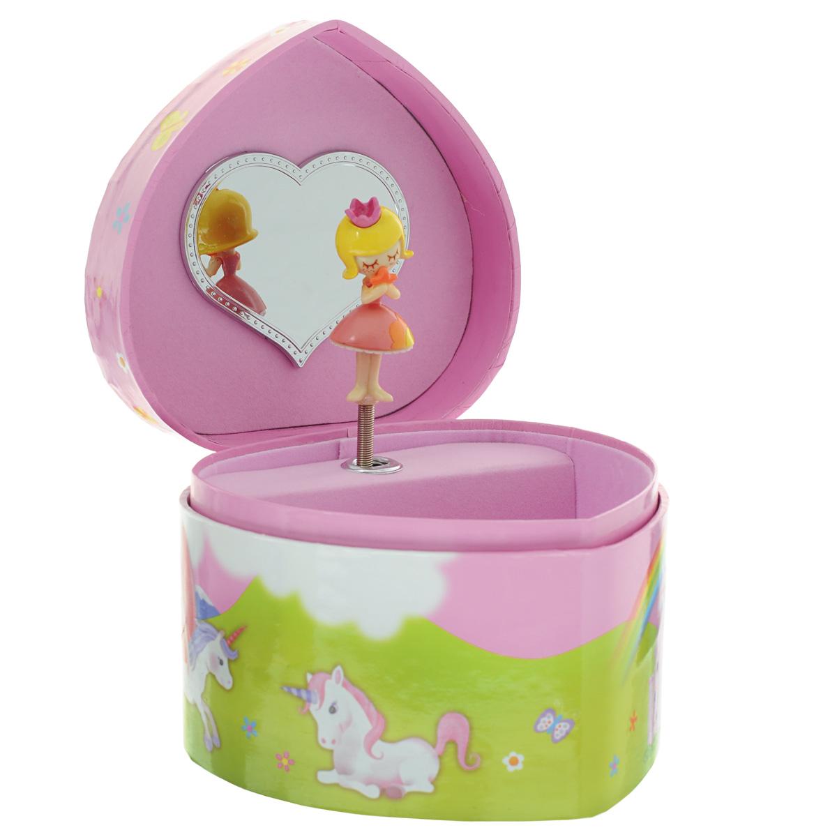 Музыкальная шкатулка Jakos Принцесса с лошадкой, цвет: розовый10000_2Музыкальная шкатулка Принцесса с лошадкой непременно понравится вашей девочке! Малышка сможет хранить в ней украшения, дорогие ей мелочи и свои секреты. Шкатулка выполнена в форме сердца и украшена милым рисунком, изображающим мечтательную принцессу и ее единорога на фоне радуги и облаков. Шкатулка оформлена в нежных пастельных тонах и прекрасно впишется в любой интерьер. Внутри шкатулки расположено зеркальце, которое пригодиться каждой маленькой моднице, и фигурка принцессы на пружинке. Если открыть крышку, фигурка начнет кружиться и зазвучит приятная нежная музыка. Музыкальная шкатулка для украшений станет оригинальным и полезным подарком, и понравится любой девочке.