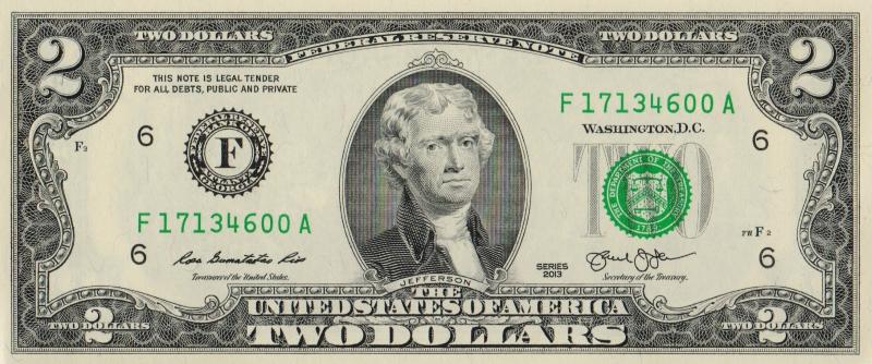 Банкнота номиналом 2 доллара. США. Атланта. 2013 год304329Банкнота номиналом 2 доллара. Атланта. США, 2013 год. Размер 15,6 х 6,6 см. Сохранность: UNC пресс (без обращения).