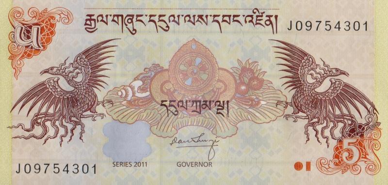 Банкнота номиналом 5 нгултрумов. Бутан. 2011 год304329Размер 12,5 х 6 см.