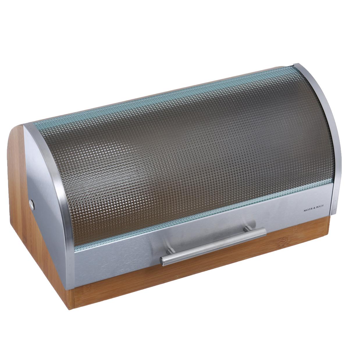 Хлебница Mayer & Boch, 39,5 х 24 х 21 см21222Хлебница Mayer & Boch, выполненная в классическом дизайне, позволит сохранить ваш хлеб свежим и вкусным. Корпус хлебницы выполнен из натурального бамбука. Крышка, выполненная из стекла и нержавеющей стали плавно открывается и является герметичной. Крышка оснащена металлической ручкой. Эксклюзивный дизайн, эстетика и функциональность хлебницы делают ее превосходным аксессуаром на вашей кухне.
