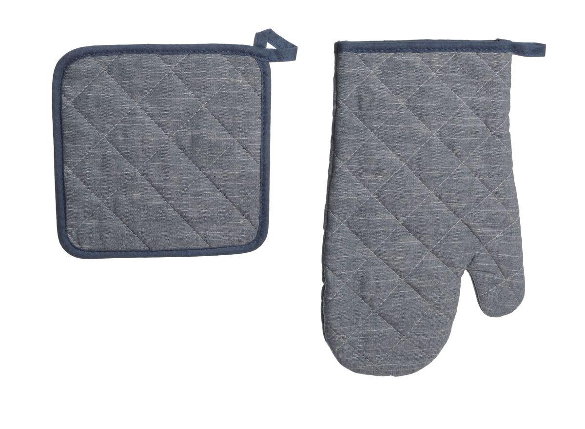 Набор: прихватка квадратная 18*18, варежка 28*17 Деним65029Оригинальный набор кухонного текстиля из плотной смесовой ткани в стиле деним.
