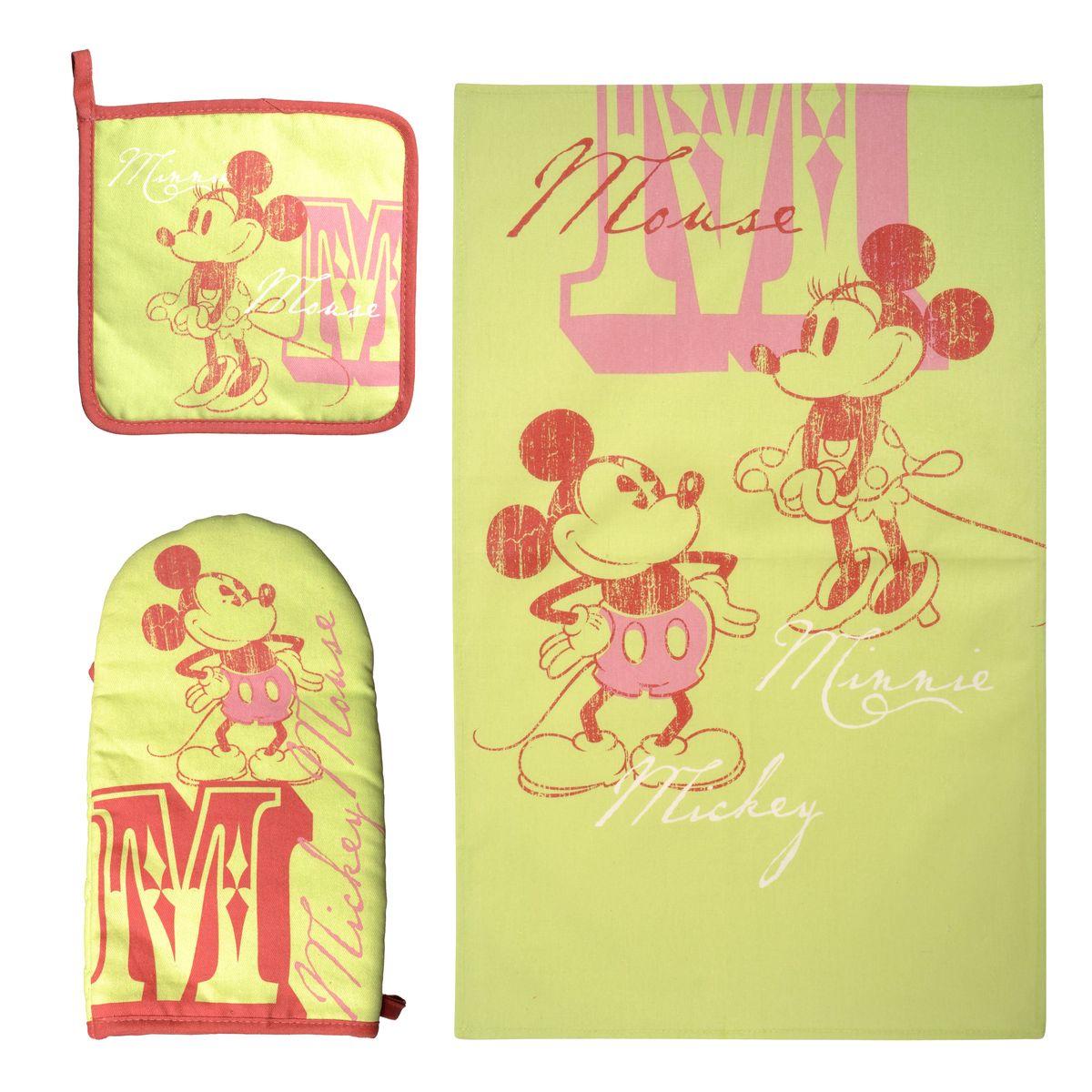 Набор для кухни Disney Mickey&Minnie, 3 предмета. 6509565095Набор для кухни Disney Mickey&Minnie, выполненный из 100% хлопка, состоит из полотенца, прихватки, варежки. Предметы набора оформлены изображением Микки Мауса и Минни Мауса. Прихватку и рукавицу можно подвешивать благодаря имеющимся на них петелькам. Такой набор - отличный вариант для практичной и современной молодой хозяйки. Размер полотенца: 37 см х 62 см. Размер прихватки: 18 см х 18 см. Размер варежки: 15 см х 28 см.