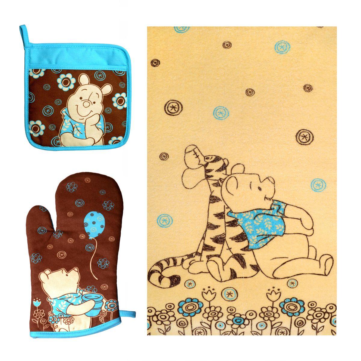 Набор для кухни Disney Winnie The Pooh, 3 предмета65098Набор для кухни Disney Winnie The Pooh, выполненный из 100% хлопка, состоит из полотенца, прихватки с карманом, варежки. Предметы набора оформлены изображением Винни Пуха и красивыми узорами. Прихватку и рукавицу можно подвешивать благодаря имеющимся на них петелькам. Такой набор - отличный вариант для практичной и современной молодой хозяйки. Размер полотенца: 37 см х 62 см. Размер прихватки: 18 см х 18 см. Размер варежки: 17 см х 28 см.