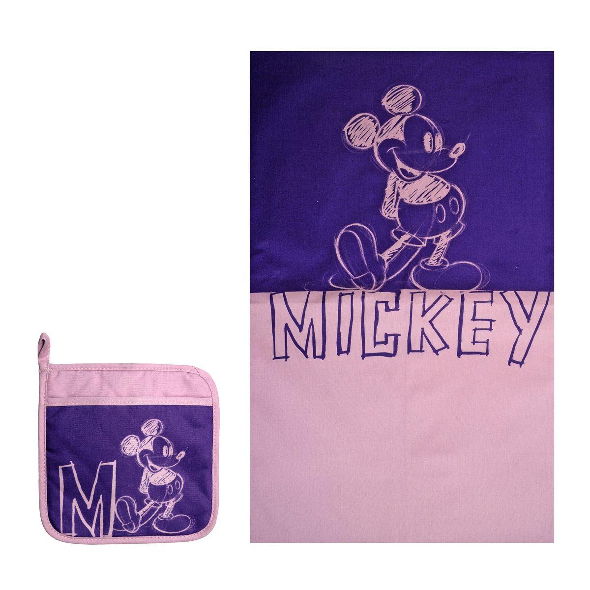 Набор для кухни Disney Mickey Mouse, цвет: фиолетовый, сиреневый, 2 предмета65101Набор для кухни Disney Mickey Mouse состоит из прихватки и полотенца. Прихватка оснащена петелькой для подвешивания. Предметы набора выполнены из 100% хлопка и оформлены изображением Микки Мауса. Такой набор оригинально украсит интерьер и будет уместен на любой кухне. Прекрасно подойдет в качестве подарка, который окажется не только приятным, но и полезным в хозяйстве. Размер полотенца: 37 см х 62 см. Размер прихватки: 18 см х 18 см.