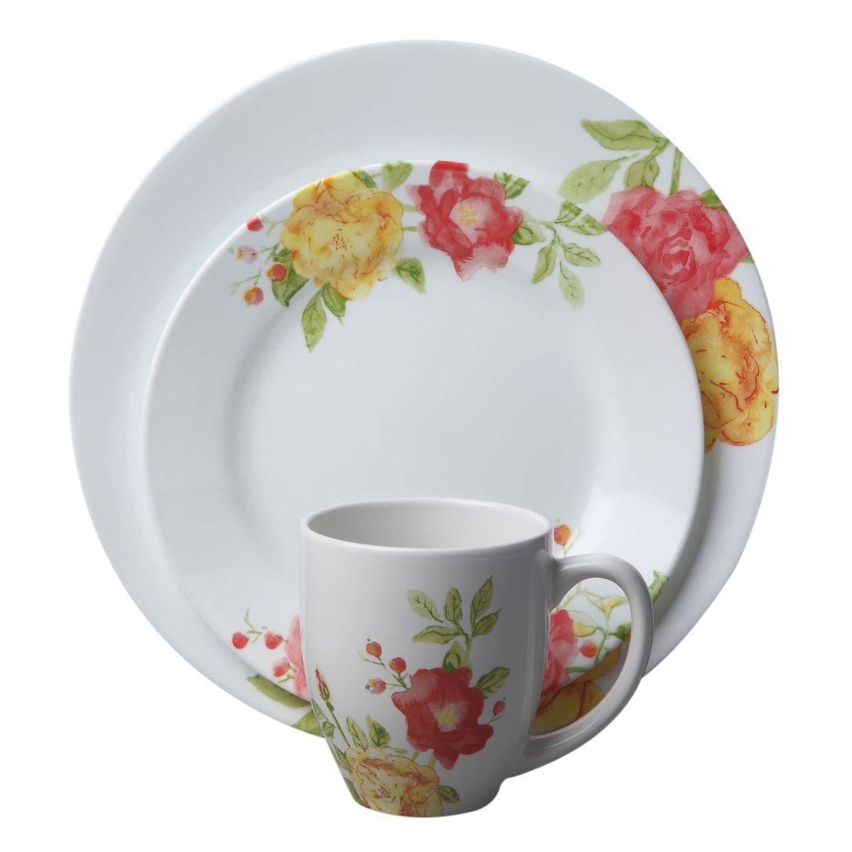 Набор посуды Emma Jane 16пр, цвет: белый с рисунком1114336Преимуществами посуды Corelle являются долговечность, красота и безопасность в использовании. Вся посуда Corelle изготавливается из высококачественного ударопрочного трехслойного стекла Vitrelle и украшена деколями американских и европейских дизайнеров. Рисунки не стираются и не царапаются, не теряют свою яркость на протяжении многих лет. Посуда Corelle не впитывает запахов и очень долгое время выглядит как новая. Уникальная эмаль, используемая во время декорирования, фактически становится единым целым с поверхностью стекла, что гарантирует долгое сохранение нанесенного рисунка. Еще одним из главных преимуществ посуды Corelle является ее безопасность. В производстве используются только безопасные для пищи пигменты эмали, при производстве посуды не применяется вредный для здоровья человека меламин. Изделия из материала Vitrelle:...