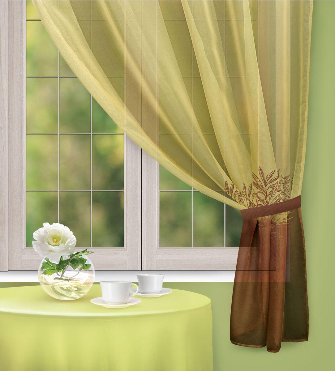 Штора Home Queen Olive Dream, на петлях, цвет: оливково-коричневый, высота 170 см67398Изящная штора Home Queen Olive dream выполнена из 100% полиэстера. Полупрозрачная ткань, приятная цветовая гамма, цветочный рисунок привлекут к себе внимание и органично впишутся в интерьер помещения. Такая штора идеально подходит для солнечных комнат, а также для кухни. Мягко рассеивая прямые лучи, она хорошо пропускает дневной свет и защищает от посторонних глаз. В комплект входит подхват, с помощью которого вы сможете придать шторе нужную форму. Эта штора будет долгое время радовать вас и вашу семью! Штора крепится на петлях. Размер подхвата: 30 см х 4,5 см.