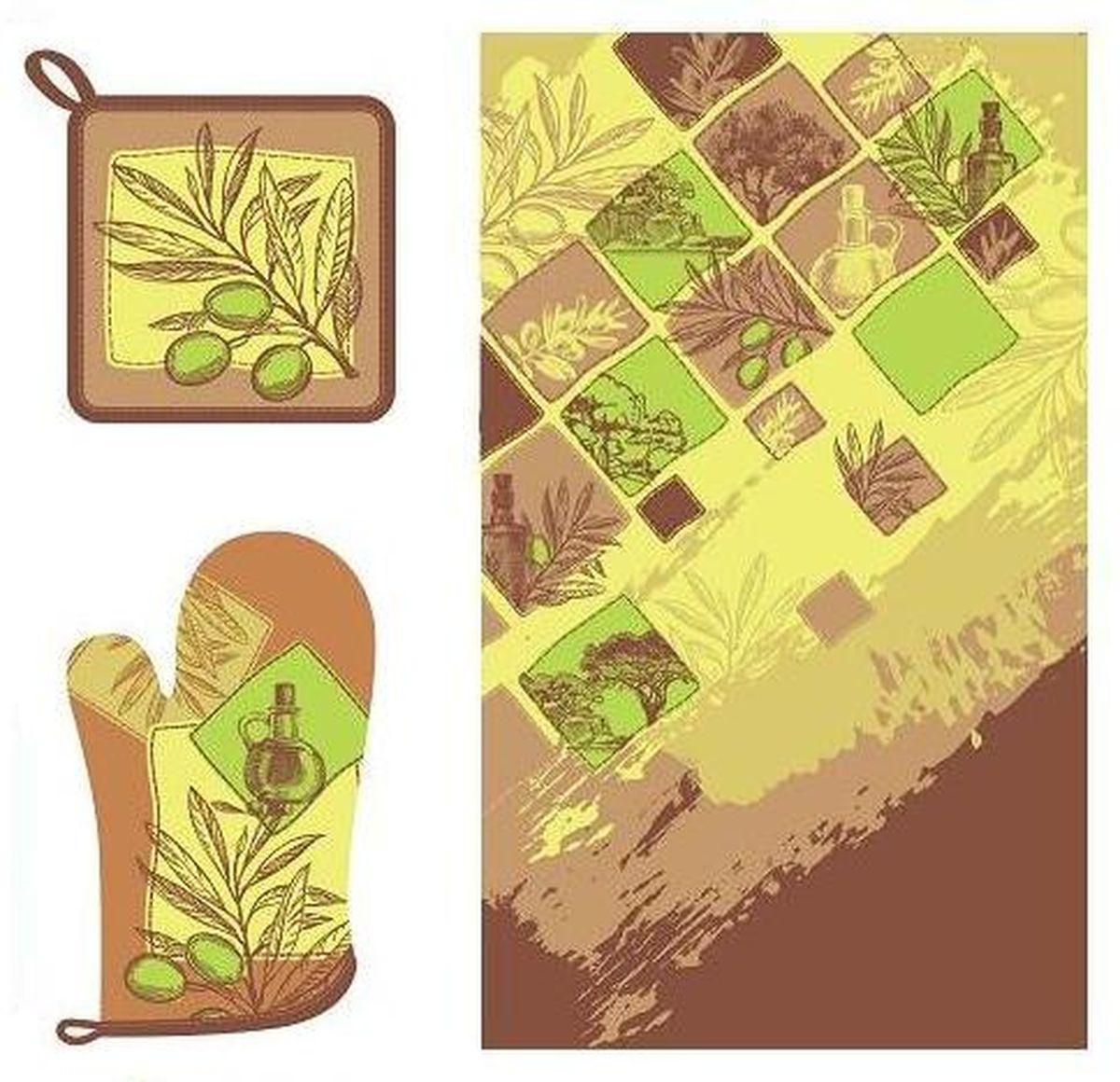 Набор кухонного текстиля Olive dream67412Набор кухонного текстиля выполнен из хлопка и украшен оригинальным принтом в оливковых и коричневых оттенках.