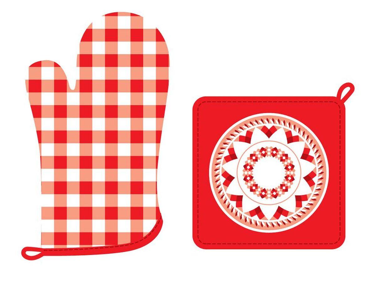 Набор кухонного текстиля Red kitchen67416Набор кухонного текстиля выполнен из хлопка и украшен ярким красно-белым принтом.