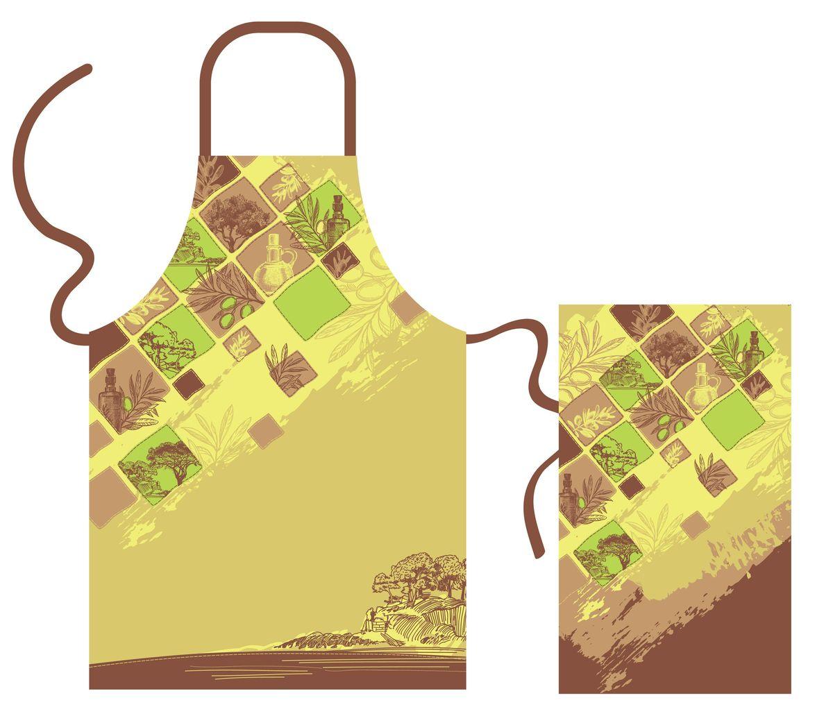 Набор кухонного текстиля Olive dream67418Набор кухонного текстиля выполнен из хлопка и украшен оригинальным принтом в оливковых и коричневых оттенках.
