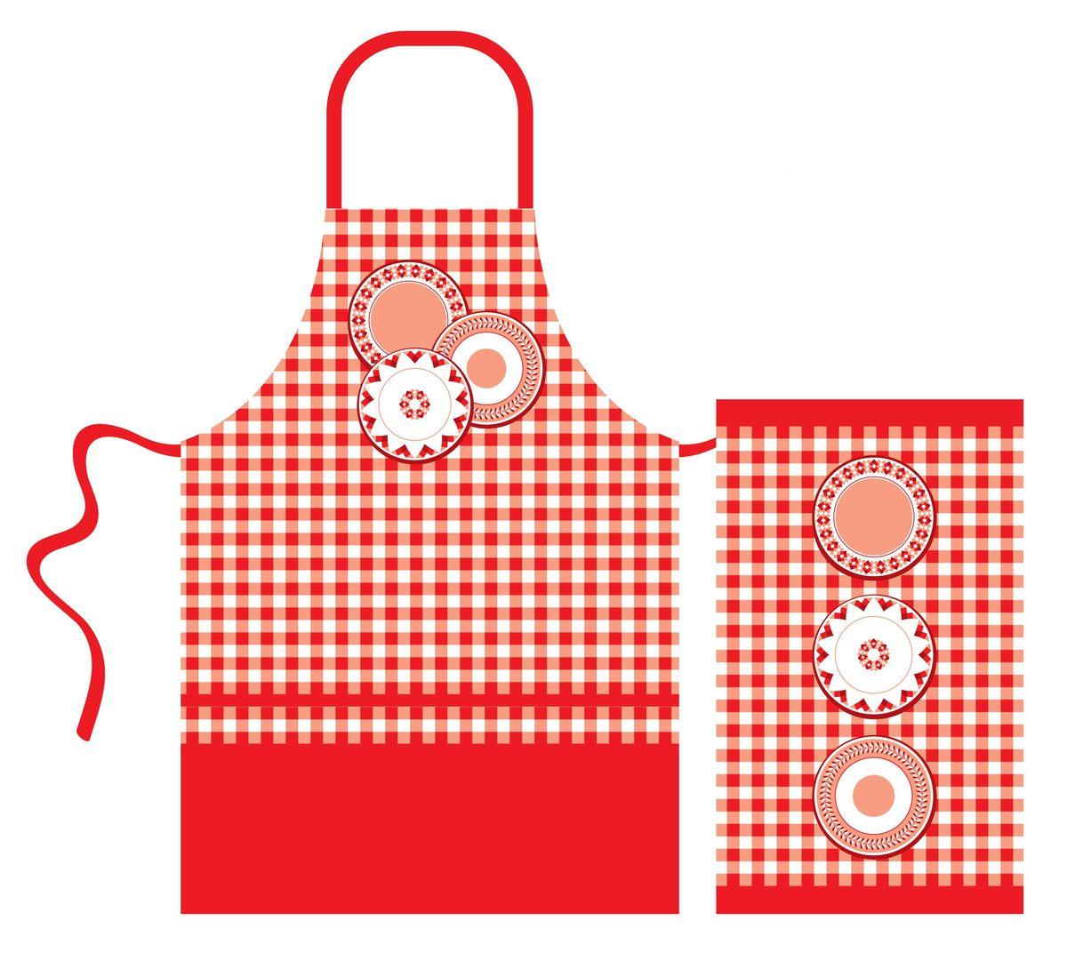 Набор кухонного текстиля Red kitchen67419Набор кухонного текстиля выполнен из хлопка и украшен ярким красно-белым принтом. 100% хлопок