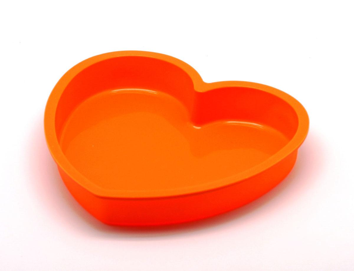 """Форма для выпечки Atlantis """"Сердце"""", цвет: оранжевый, 24 см х 22 см х 4 см"""
