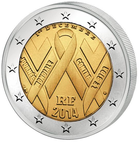 Монета номиналом 2 евро Всемирный день борьбы со СПИДом. Франция, 2014 год304329Диаметр 2,5 см. Сохранность UNC (без обращения).