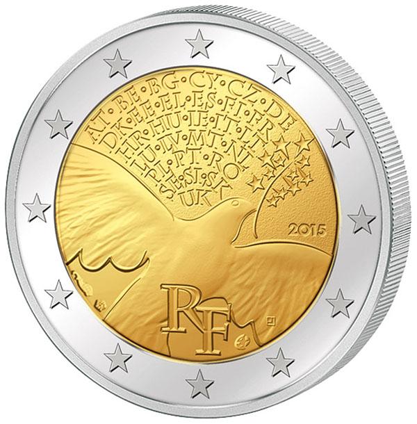 Монета номиналом 2 евро 70 лет мира в Европе. Франция, 2015 год304329Диаметр 2,5 см. Сохранность UNC (без обращения).