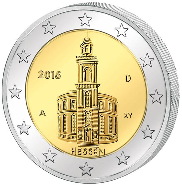 Монета номиналом 2 евро Гессен. Германия, 2015 год304329Диаметр 2,5 см. Сохранность UNC (без обращения).