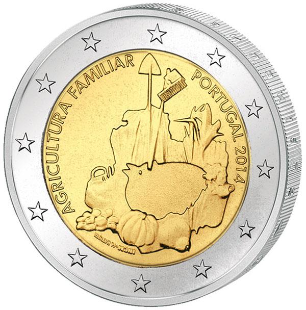 Монета номиналом 2 евро Международный год семейных фермерских хозяйств. Португалия, 2014 год304329Диаметр 2,5 см. Сохранность UNC (без обращения).
