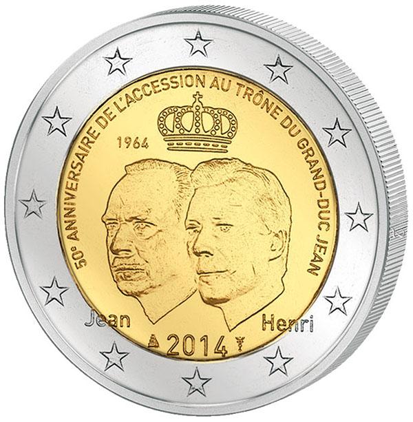 Монета номиналом 2 евро 50-летие вступления на трон Великого Герцога Жана. Люксембург, 2014 год304329Диаметр 2,5 см. Сохранность UNC (без обращения).