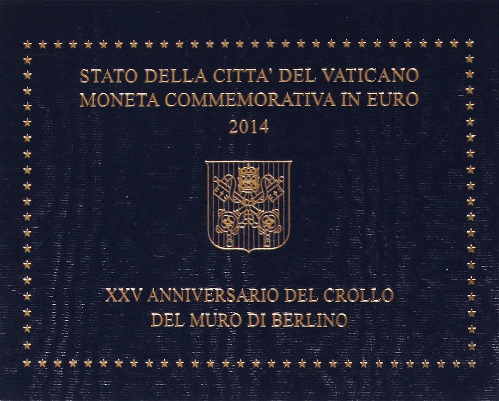 Монета номиналом 2 евро 25 лет падения Берлинской стены. Ватикан, 2014 год304329Диаметр 2,5 см. Сохранность UNC (без обращения) Размер буклета: 12 x 9.5 см