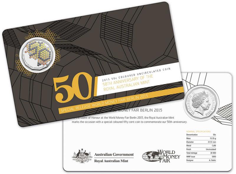 Монета номиналом 50 центов 50-летие Королевского Австралийского монетного двора, цветная печать (специальный выпуск). Австралия, 2015 год304329Материал: медно-никелевый сплав. Диаметр монеты: 31,51 мм. Размер буклета 17 х 10 см. Тираж: 5000 экз. Сохранность: UNC (без обращения).