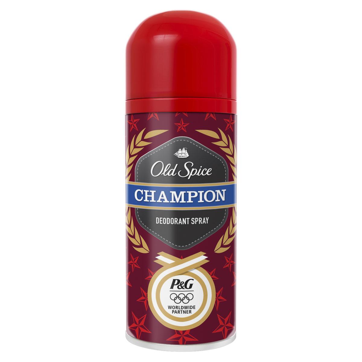 Old Spice Дезодорант-спрей Champion, 125 млOS-81444595Дезодорант Old Spice Champion обладает ароматом для настоящих мужчин! Чемпионы бывают самых разных форм и размеров. Но при этом у них у всех один и тот же аромат. Ты должен пахнуть как будто твои мечты уже стали реальностью. Мужчина с ароматом Old Spice Champion забивает лучшие голы, смело идет в разведку, переплывает проливы, отважно спасает красавиц и покоряет их своим запахом. Old Spice Champion - аромат успеха. Из всех ароматов, которые может ощутить человеческий нос, только Old Spice Champion может поддерживать вселенную в равновесии и притягивать к вам прекрасный пол с силой, которая, по некоторым подсчетам, превосходит силу черной дыры. Настоящие мужчины любят аэрозольные продукты в суровых металлических баллончиках. Это факт. Потому что аэрозольные баллончики всегда таят в себе загадку. Как миллионы микрокапсул вылетают из распылителя, покрывают ваше тело, дарят вам прекрасный аромат и в тоже время защищают от неприятного ...