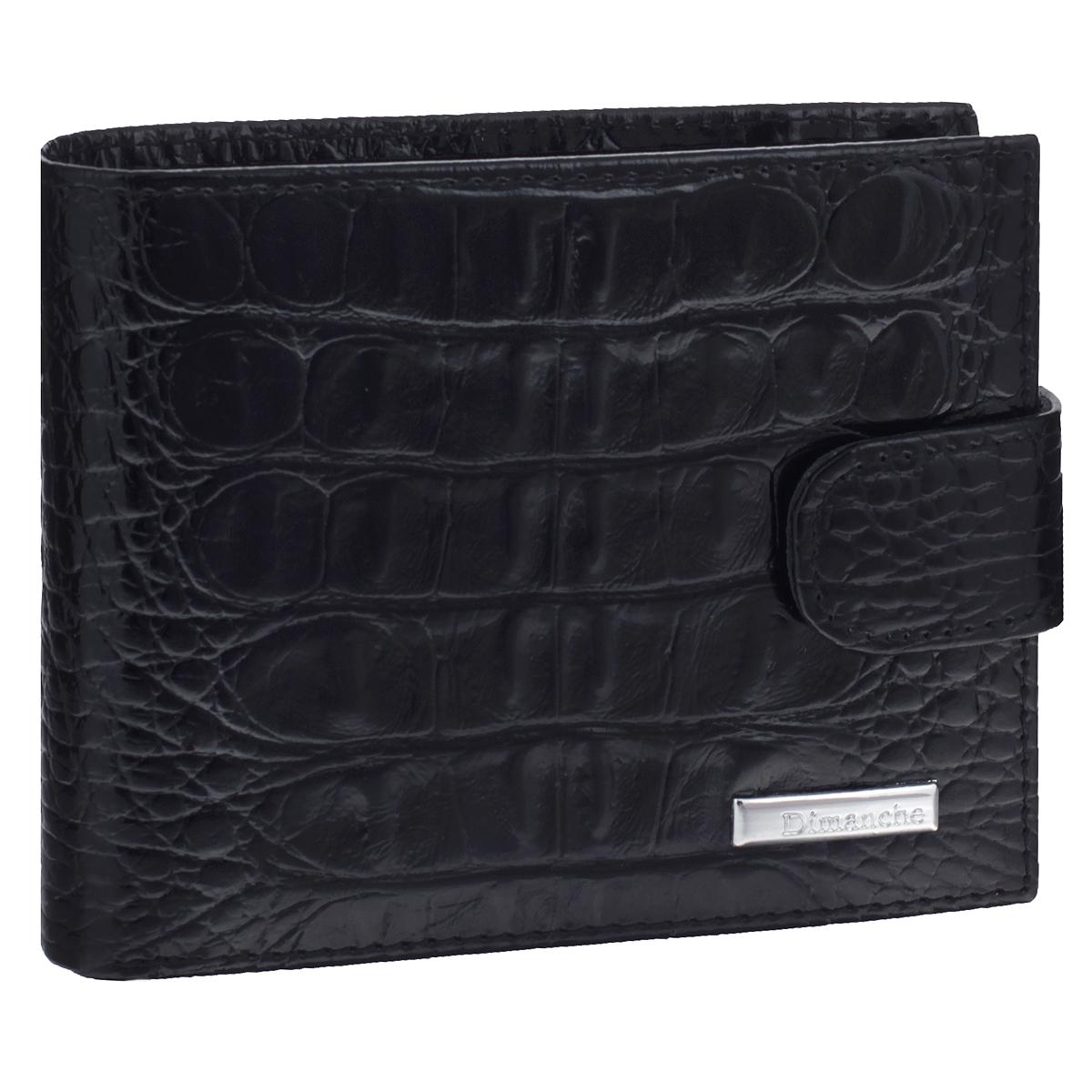Портмоне мужское Dimanche Loricata, цвет: черный. 411411Портмоне Dimanche Loricata изготовлено из натуральной кожи черного цвета с декоративным тиснением под рептилию. Закрывается хлястиком на кнопку. Внутри содержится 2 отделения для купюр, дополнительный карман на молнии, 6 карманов для кредитных карт, 2 потайных кармашка для мелких бумаг и небольшой кармашек для мелочи с клапаном на кнопке. Внутри портмоне отделано атласным полиэстером черного цвета с узором. Фурнитура - серебристого цвета. Стильное портмоне отлично дополнит ваш образ и станет незаменимым аксессуаром на каждый день. Упаковано в фирменную картонную коробку коричневого цвета.