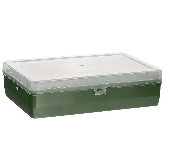 Коробка для мелочей Trivol, двухъярусная, с микролифтом, цвет: темно-зеленый, 23,5 см х 15 см х 6 см525825Двухъярусная коробка для мелочей Trivol изготовлена из высококачественного пластика. Прозрачная крышка позволяет видеть содержимое коробки. Изделие имеет два яруса. Верхний ярус представляет собой выдвижное отделение, в котором содержится 6 прямоугольных ячеек. Нижний ярус имеет 3 ячейки разного размера. Коробка прекрасно подойдет для хранения швейных принадлежностей, рыболовных снастей, мелких деталей и других бытовых мелочей. Удобный и надежный замок-защелка обеспечивает надежное закрывание крышки. Коробка легко моется и чистится. Такая коробка поможет держать вещи в порядке. Размер самой маленькой ячейки: 3,5 см х 10 см х 1,7 см. Размер самой большой ячейки: 13 см х 14,5 см х 5 см.