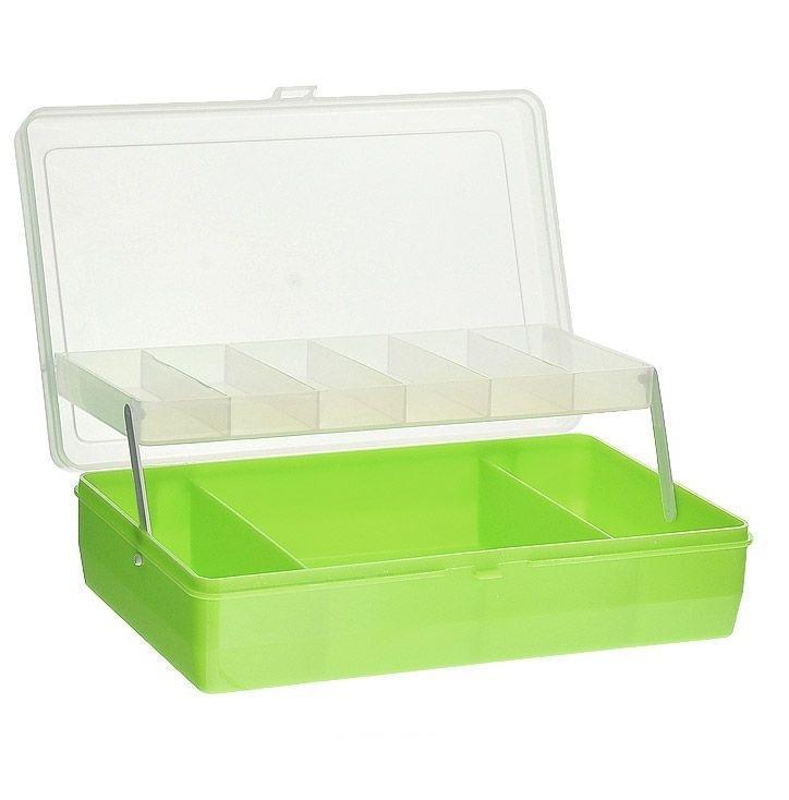 Коробка для мелочей Trivol, двухъярусная, с микролифтом, цвет: светло-зеленый, 23,5 х 15 х 6 см525825Двухъярусная коробка для мелочей Trivol изготовлена из высококачественного пластика. Прозрачная крышка позволяет видеть содержимое коробки. Изделие имеет два яруса. Верхний ярус представляет собой выдвижное отделение, в котором содержится 6 прямоугольных ячеек. Нижний ярус имеет 3 ячейки разного размера. Коробка прекрасно подойдет для хранения швейных принадлежностей, рыболовных снастей, мелких деталей и других бытовых мелочей. Удобный и надежный замок-защелка обеспечивает надежное закрывание крышки. Коробка легко моется и чистится. Такая коробка поможет держать вещи в порядке. Размер самой маленькой ячейки: 3,5 см х 10 см х 1,7 см. Размер самой большой ячейки: 13 см х 14,5 см х 5 см.
