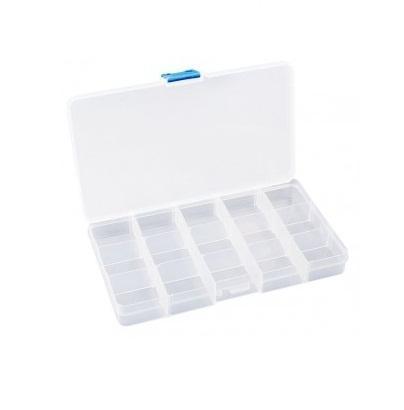 Органайзер для бисера Белоснежка, 15 секцийBO-151Органайзер для бисера изготовлен из прозрачного пластика, что позволяет видеть содержимое. Внутри содержится регулируемые ячейки для хранения бисера. Крышка плотно закрывается на два замка-защелки. Такой контейнер поможет держать бисер в порядке.