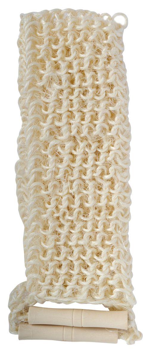 Мочалка Home Queen, из сизаля, с ручками, цвет: бежевый, 60 х 12 см56635Натуральная мочалка Home Queen изготовлена из сизаля, что делает ее идеальным средством для мытья и деликатного массажа. Мочалка, оснащенная двумя удобными деревянными ручками, отлично очищает и массирует кожу, стимулирует циркуляцию крови, очищает поры. Благодаря сильному массажному эффекту, обладает антицеллюлитным действием. Прекрасно подходит для бани и сауны. Идеально подходит для людей, склонных к аллергии, так как не требует использования мыла. Рекомендуется предварительно запарить.