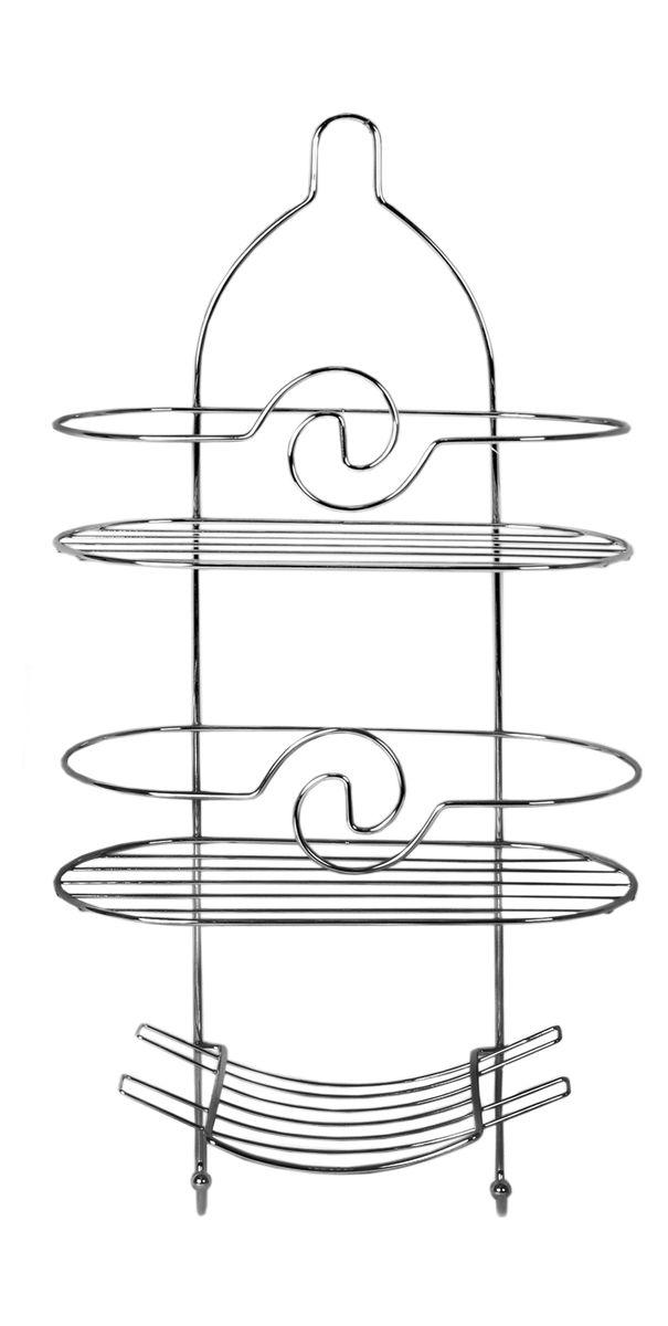 Полка овальная Fresh Code Волна, 3 яруса, 25 х 55 х 11 см56643Удобная компактная полка Fresh Code Волна не требует специального монтажа, ее можно повесить на крючок или штангу в ванной. Универсальный дизайн подойдет для любого интерьера ванной комнаты.