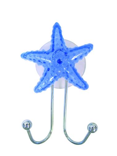 Крючок двойной Fresh Code Морская звезда, на присоске, 6,5 см х 10 см х 3 см57410Двойной крючок Fresh Code Морская звезда выполнен из хромированной стали и украшен фигуркой морской звезды из пластика. Крючок крепится к стене при помощи присоски. Такой крючок прекрасно подойдет для ванной комнаты, надежно выдержав все, что вы на него повесите. Размер крючка: 6,5 см х 10 см х 3 см. Диаметр присоски: 6 см.