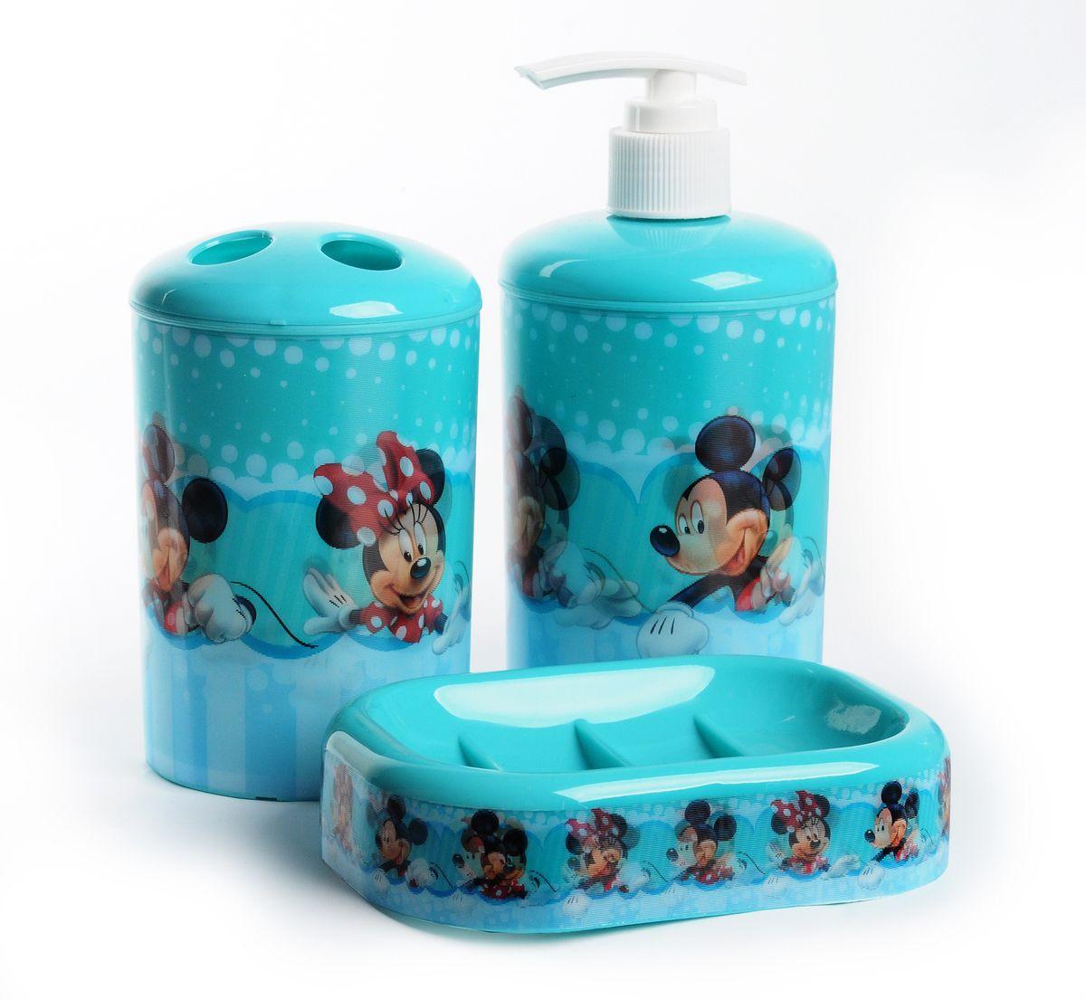 """Набор для ванной комнаты Disney """"Микки и Минни Маус"""", цвет: голубой, 3 предмета 64827"""