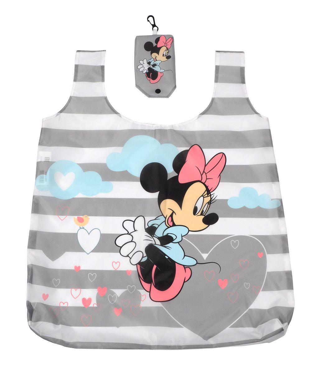 """Сумка для покупок Disney """"Минни"""", складная, цвет: белый, серый, 55 см х 44 см 64859"""
