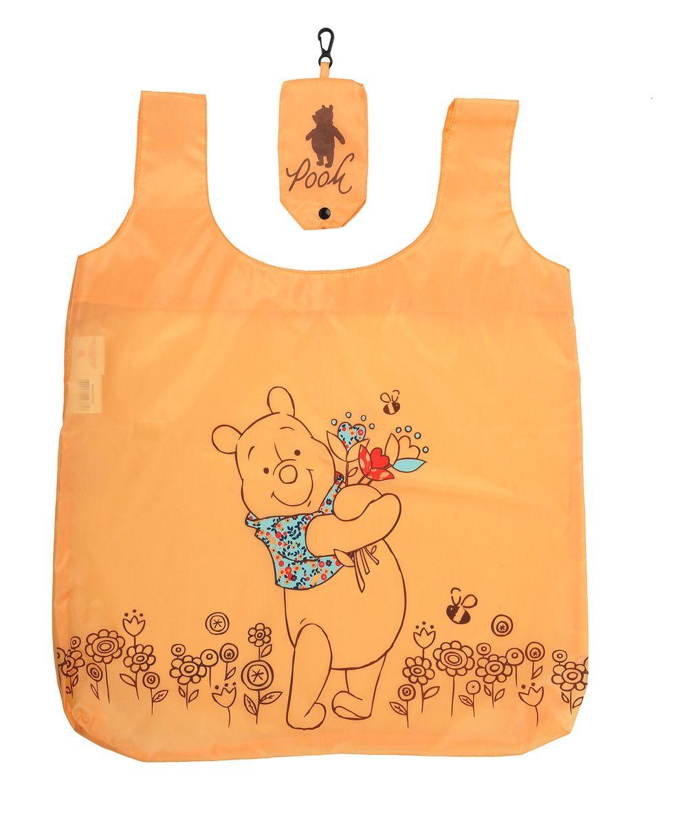 """Сумка для покупок Disney """"Винни и его друзья"""", складная, цвет: оранжевый, 55 см х 44 см 64861"""