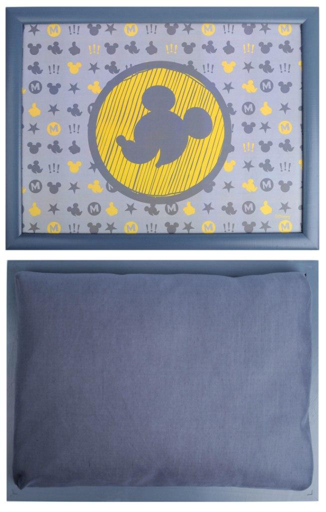"""Столик-поднос Disney """"Микки"""", с подушкой, цвет: серый, желтый, 44 см х 34 см х 8 см"""