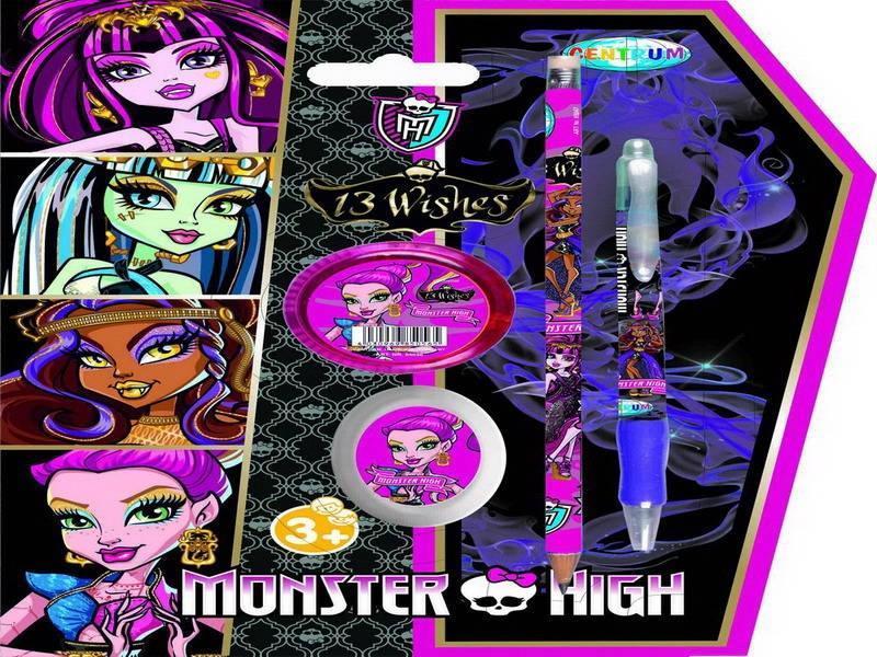 Набор Мonster high (ручка 0.7 мм,карандаш простой НВ.,точилка,ластик) 8504385043