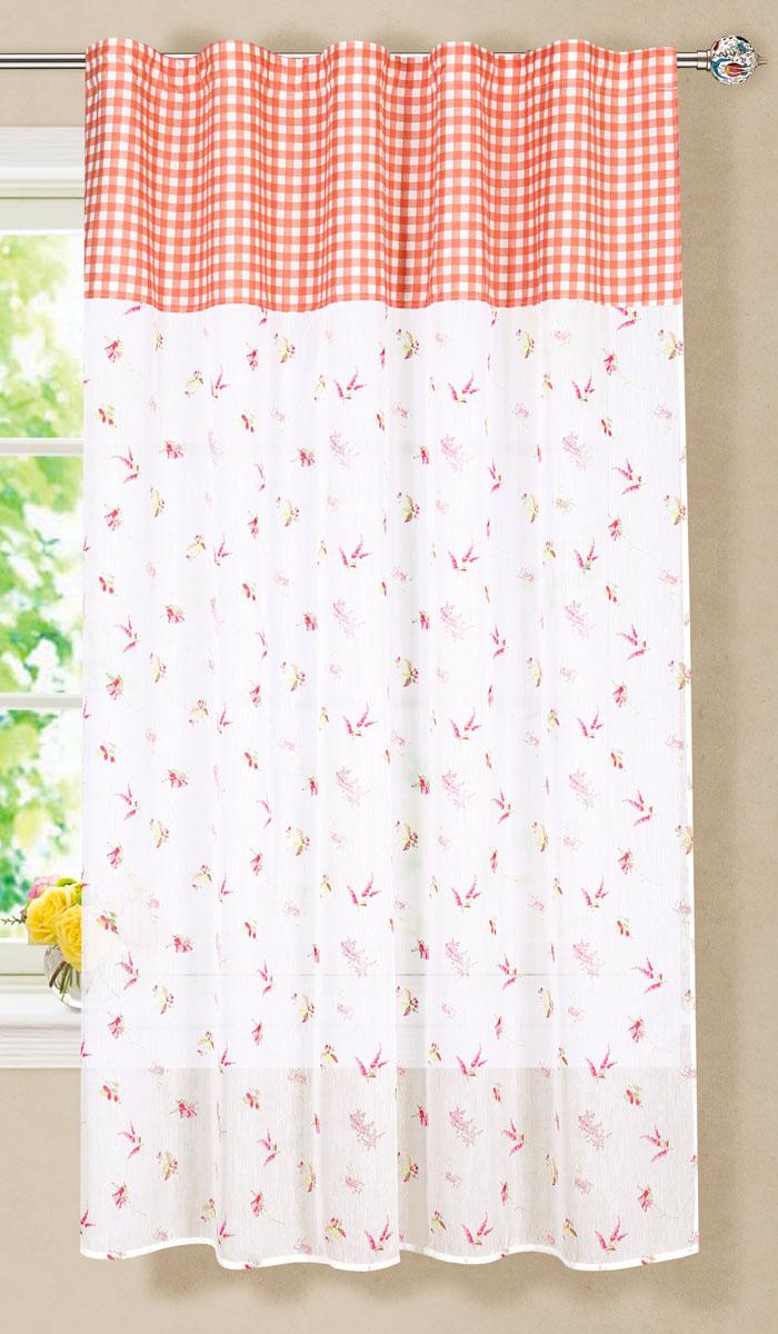 Штора готовая для гостиной Garden, на ленте, цвет: красный, размер 150*180 см. С 7235 - W356 - W1687 V3С 7235 - W356 - W1687 V3Готовая тюлевая штора для гостиной Garden выполнена из микро батиста (100% полиэстера) с изящным цветочным принтом и декорирована текстильной вставкой с принтом в клетку. Полупрозрачность материала, вуалевая текстура и нежная цветовая гамма привлекут к себе внимание и органично впишутся в интерьер комнаты. Штора крепится на карниз при помощи ленты, которая поможет красиво и равномерно задрапировать верх. Штора Garden великолепно украсит любое окно. Стирка при температуре 30°С.